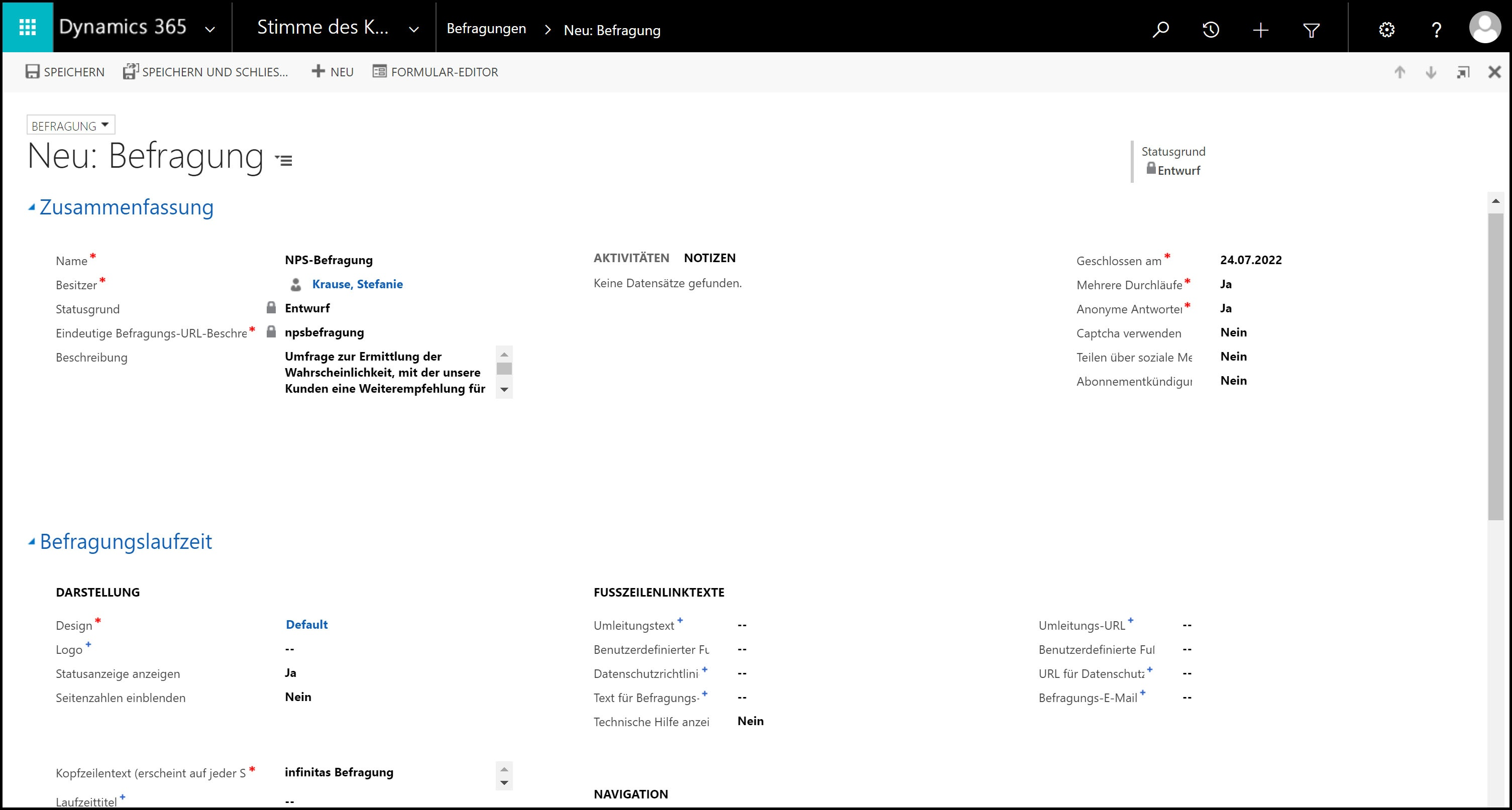 Microsoft Dynamics 365 NPS Befragung