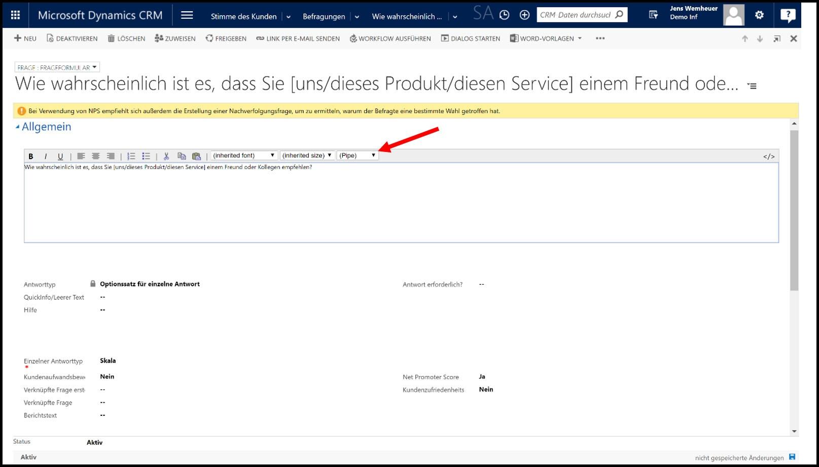Microsoft Dynamics 365 UmfragePersonalisierung