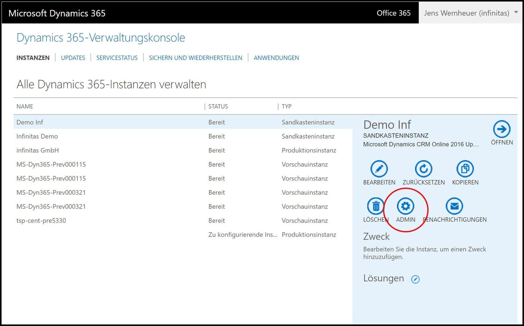 Microsoft Dynamics 365 Verwaltungskonsole