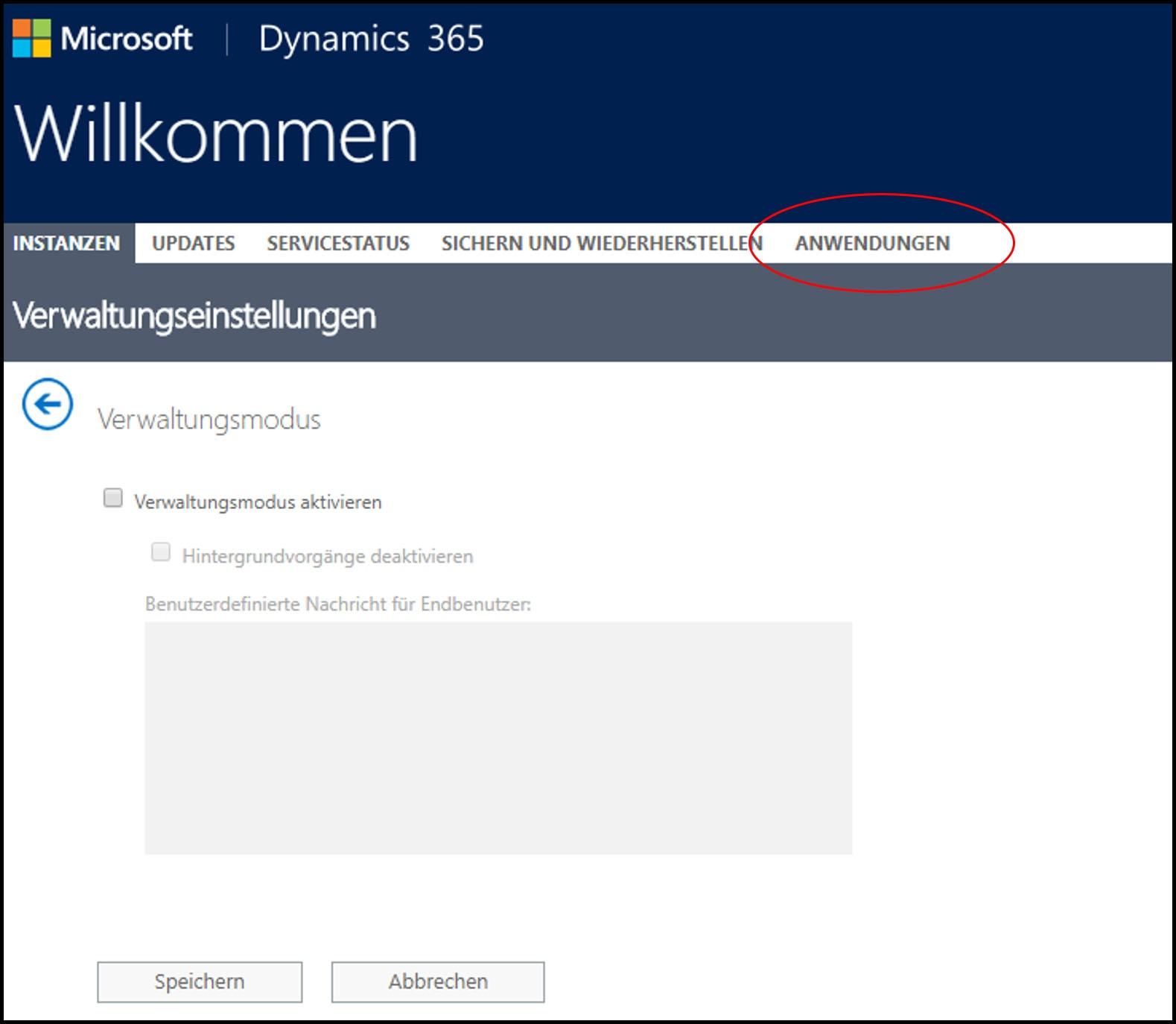 Microsoft Dynamics 365 Verwaltungseinstellungen