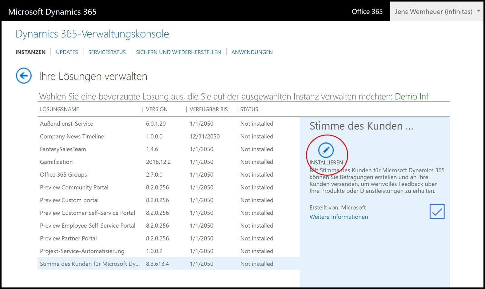 Microsoft Dynamics 365 Installationsmaske