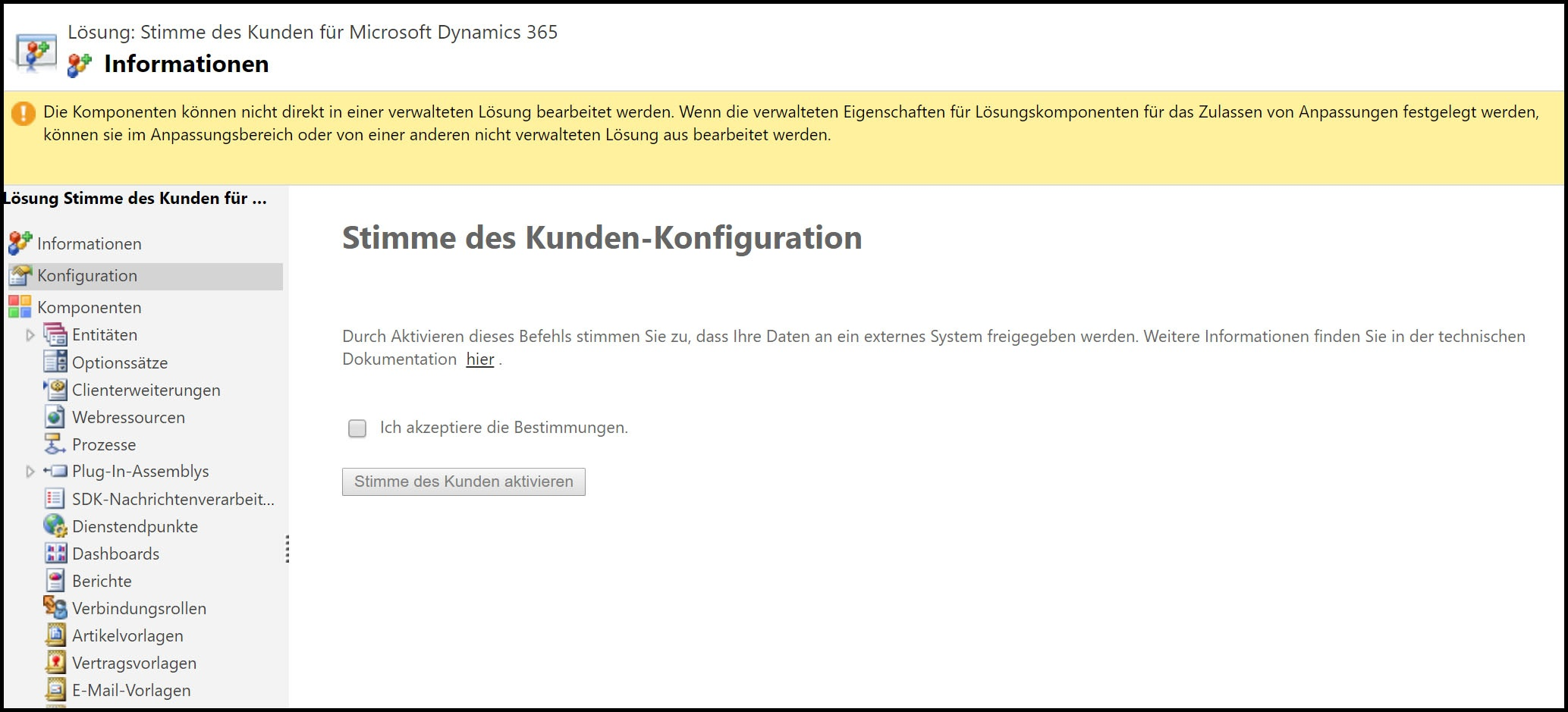 Microsoft Dynamics 365 Konfigurationsmaske
