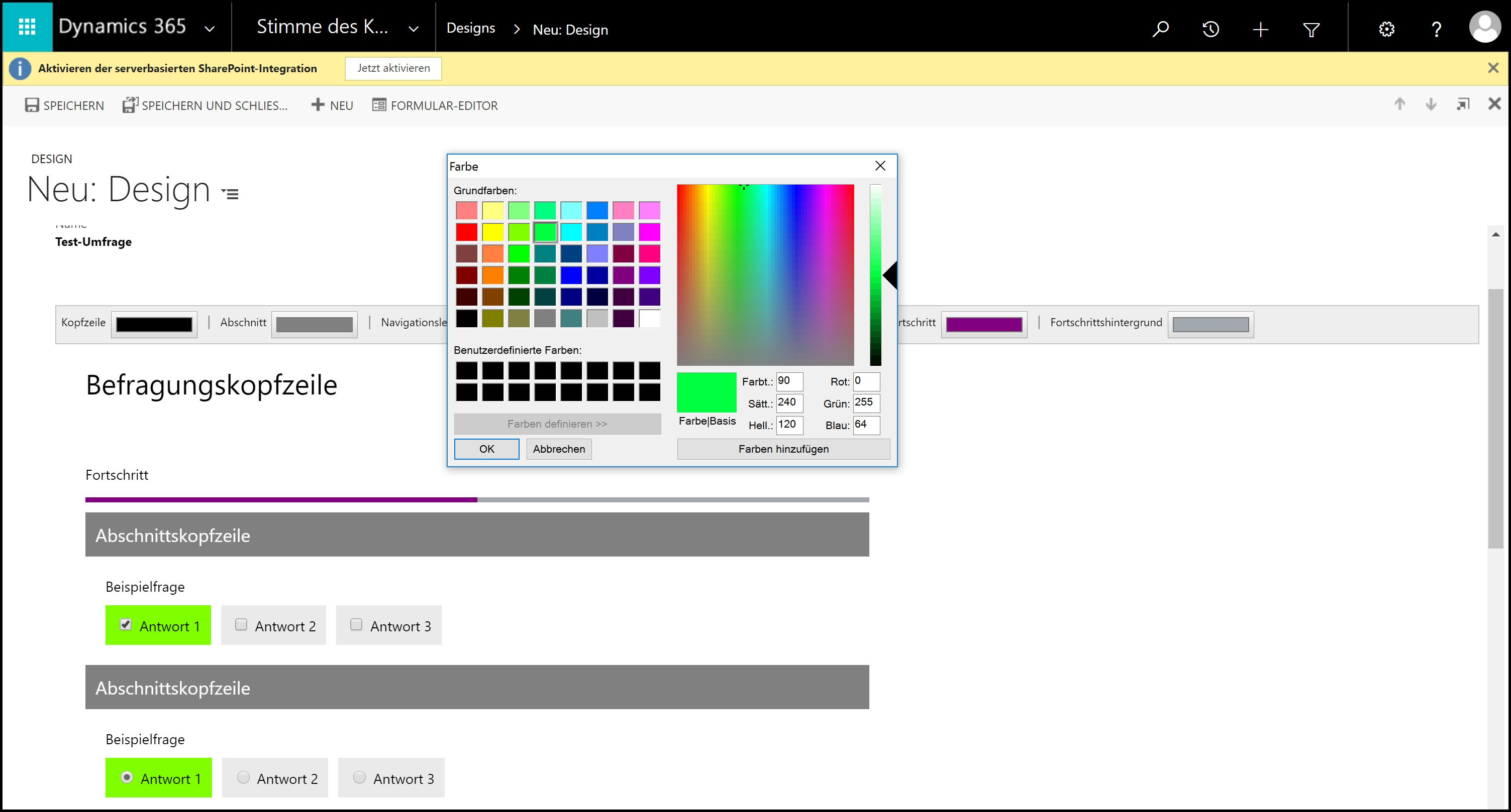 Microsoft Dynamics 365 DesignDatensatz