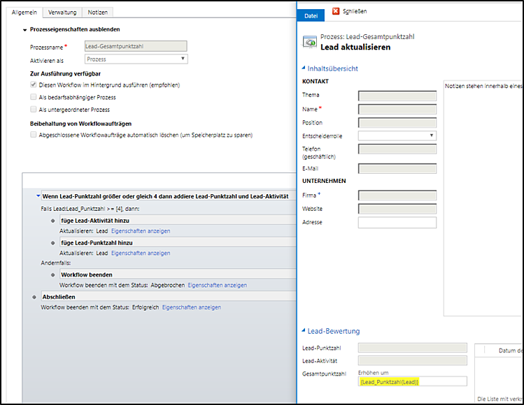 Leads in Microsoft Dynamics 365 automatisiert bewerten