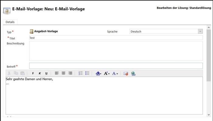 Erstellen einer E-Mail-Vorlagen
