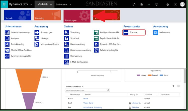 Arbeiten mit Geschäftsprozessflüssen in Microsoft Dynamics 365