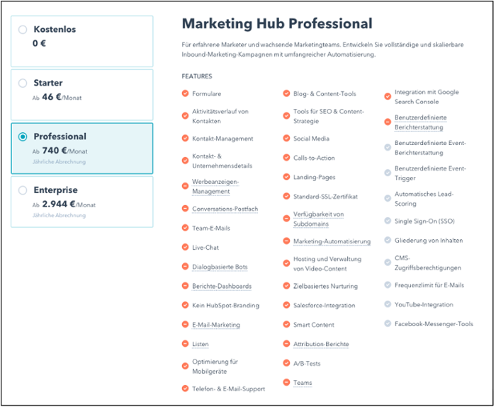 Versionen der HubSpot Marketing Software